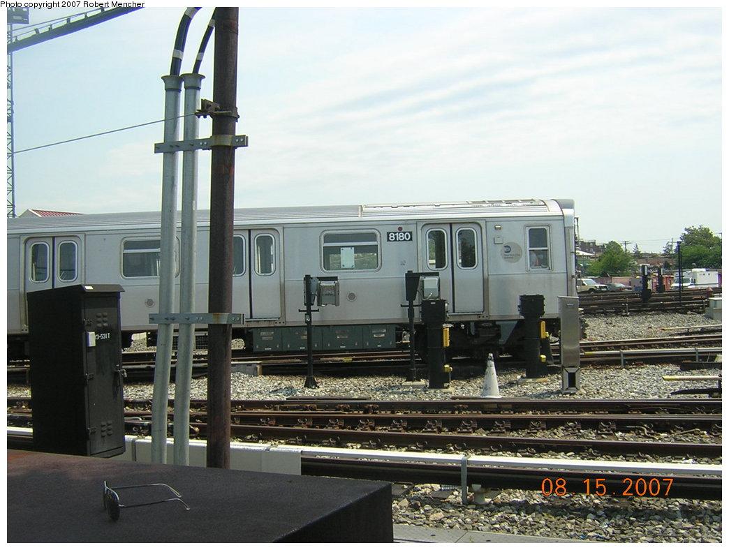 (199k, 1044x788)<br><b>Country:</b> United States<br><b>City:</b> New York<br><b>System:</b> New York City Transit<br><b>Location:</b> Rockaway Parkway (Canarsie) Yard<br><b>Car:</b> R-143 (Kawasaki, 2001-2002) 8180 <br><b>Photo by:</b> Robert Mencher<br><b>Date:</b> 8/15/2007<br><b>Viewed (this week/total):</b> 2 / 1917