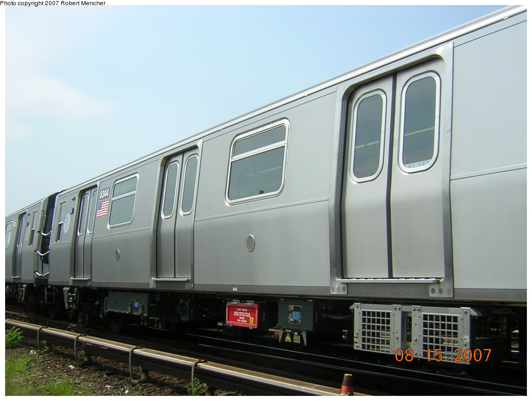 (162k, 1044x788)<br><b>Country:</b> United States<br><b>City:</b> New York<br><b>System:</b> New York City Transit<br><b>Location:</b> Rockaway Parkway (Canarsie) Yard<br><b>Car:</b> R-160A-1 (Alstom, 2005-2008, 4 car sets)  8344 <br><b>Photo by:</b> Robert Mencher<br><b>Date:</b> 8/15/2007<br><b>Viewed (this week/total):</b> 0 / 1861
