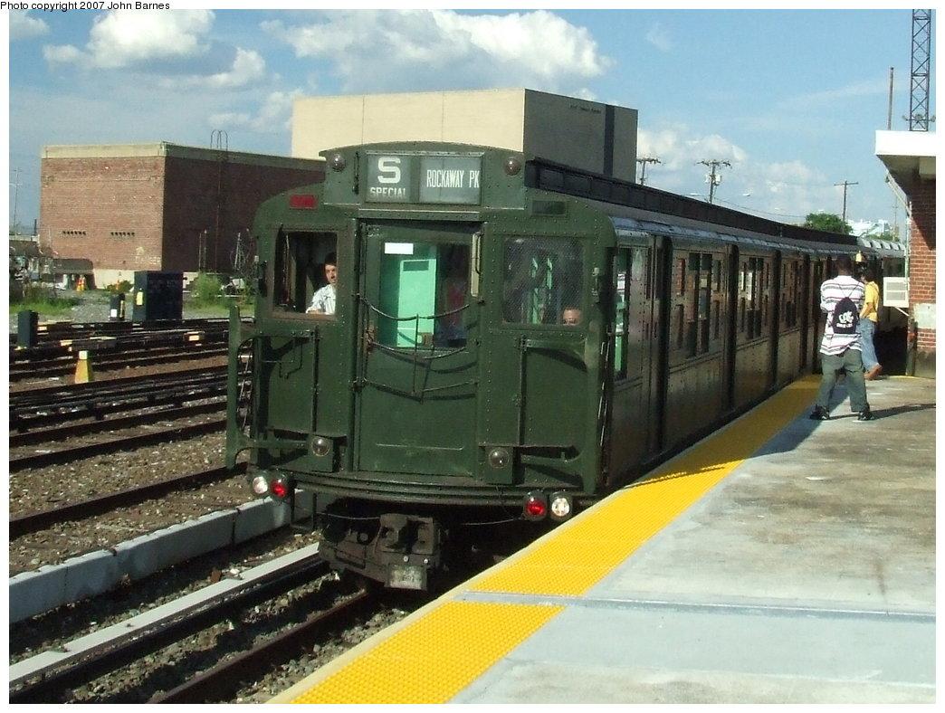 (186k, 1044x788)<br><b>Country:</b> United States<br><b>City:</b> New York<br><b>System:</b> New York City Transit<br><b>Line:</b> IND Rockaway<br><b>Location:</b> Rockaway Park/Beach 116th Street <br><b>Route:</b> Fan Trip<br><b>Car:</b> R-4 (American Car & Foundry, 1932-1933) 484 <br><b>Photo by:</b> John Barnes<br><b>Date:</b> 7/22/2007<br><b>Viewed (this week/total):</b> 0 / 1776