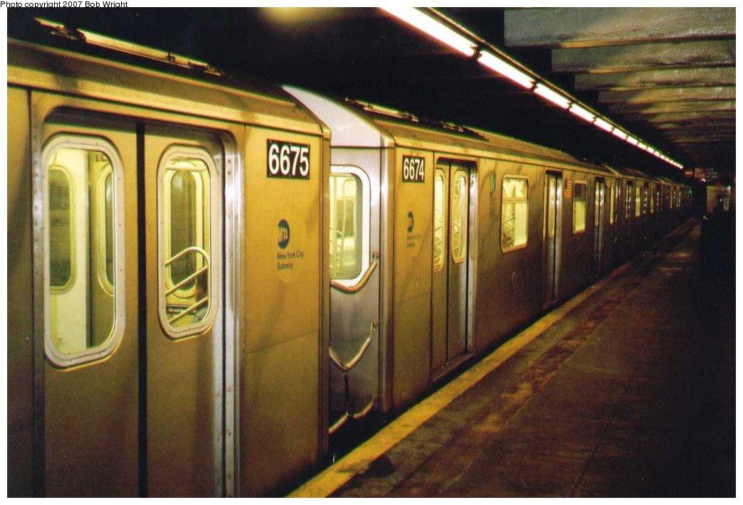 (130k, 1044x710)<br><b>Country:</b> United States<br><b>City:</b> New York<br><b>System:</b> New York City Transit<br><b>Line:</b> IRT Brooklyn Line<br><b>Location:</b> Bergen Street <br><b>Route:</b> 2<br><b>Car:</b> R-142 (Primary Order, Bombardier, 1999-2002)  6674 <br><b>Photo by:</b> Bob Wright<br><b>Date:</b> 3/2005<br><b>Viewed (this week/total):</b> 3 / 3704