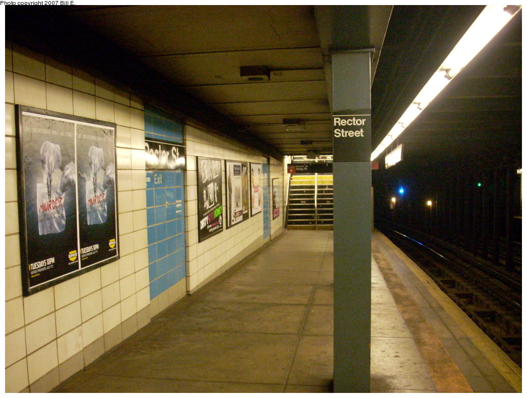 (204k, 1044x788)<br><b>Country:</b> United States<br><b>City:</b> New York<br><b>System:</b> New York City Transit<br><b>Line:</b> BMT Broadway Line<br><b>Location:</b> Rector Street <br><b>Photo by:</b> Bill E.<br><b>Date:</b> 8/19/2007<br><b>Viewed (this week/total):</b> 3 / 1915