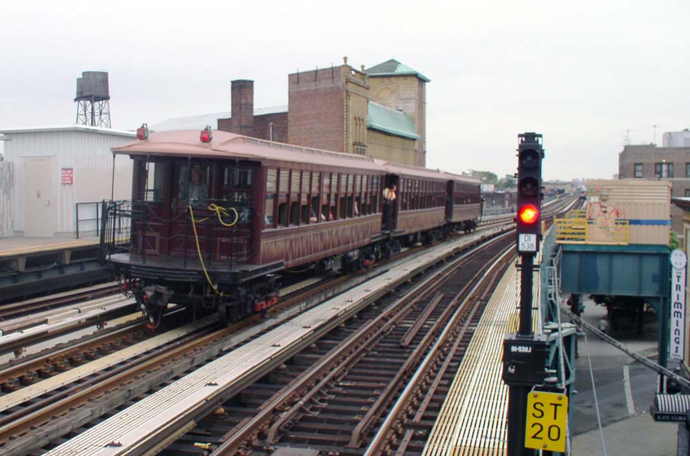 (109k, 1000x662)<br><b>Country:</b> United States<br><b>City:</b> New York<br><b>System:</b> New York City Transit<br><b>Line:</b> BMT West End Line<br><b>Location:</b> Fort Hamilton Parkway <br><b>Route:</b> Fan Trip<br><b>Car:</b> BMT Elevated Gate Car 1404/1237/1407 <br><b>Photo by:</b> Christopher Sattler<br><b>Date:</b> 7/24/2004<br><b>Viewed (this week/total):</b> 2 / 1636