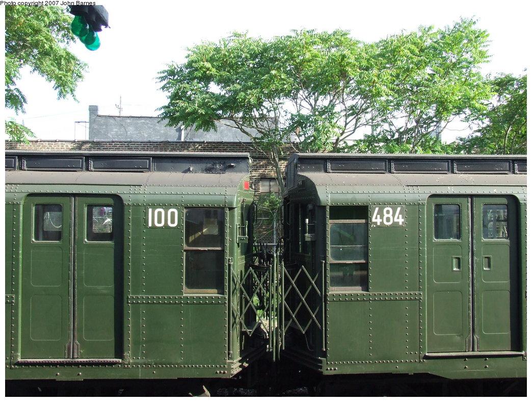 (244k, 1044x788)<br><b>Country:</b> United States<br><b>City:</b> New York<br><b>System:</b> New York City Transit<br><b>Location:</b> Rockaway Park Yard<br><b>Route:</b> Fan Trip<br><b>Car:</b> R-1 (American Car & Foundry, 1930-1931) 100 <br><b>Photo by:</b> John Barnes<br><b>Date:</b> 7/22/2007<br><b>Notes:</b> With R4 484<br><b>Viewed (this week/total):</b> 0 / 1739