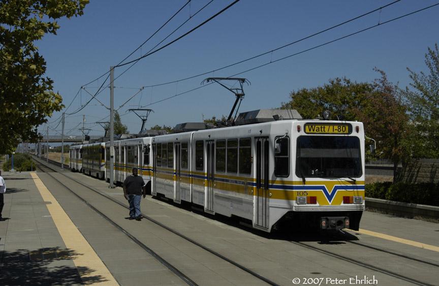 (170k, 864x563)<br><b>Country:</b> United States<br><b>City:</b> Sacramento, CA<br><b>System:</b> SACRT Light Rail<br><b>Location:</b> Swanston <br><b>Car:</b> Sacramento Siemens LRV  105 <br><b>Photo by:</b> Peter Ehrlich<br><b>Date:</b> 8/20/2007<br><b>Notes:</b> Leaving Swanston Station outbound.  Three Siemens cars and a CAF car in the train.<br><b>Viewed (this week/total):</b> 0 / 1207