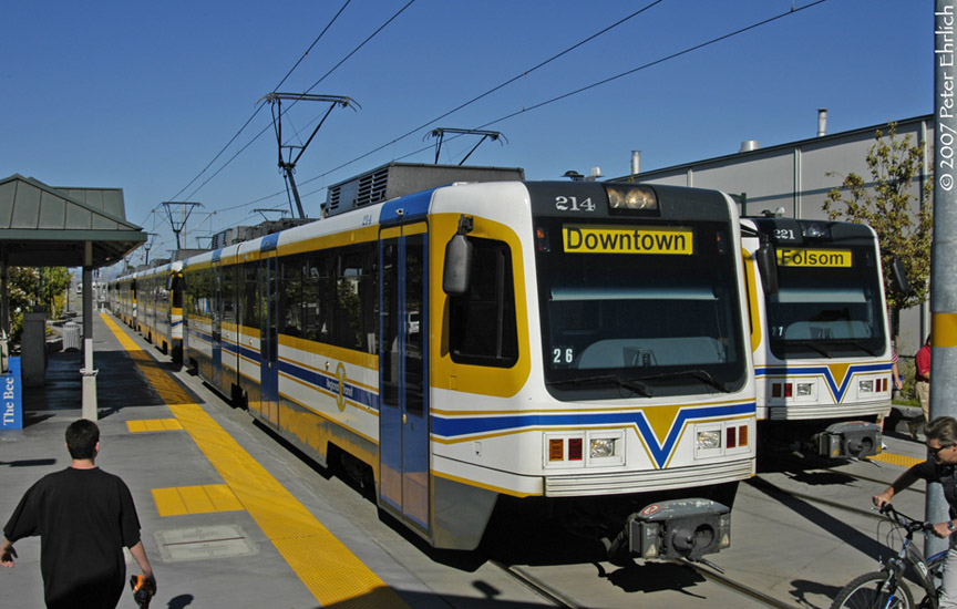 (182k, 864x550)<br><b>Country:</b> United States<br><b>City:</b> Sacramento, CA<br><b>System:</b> SACRT Light Rail<br><b>Location:</b> Sunrise <br><b>Car:</b> Sacramento CAF LRV  214 <br><b>Photo by:</b> Peter Ehrlich<br><b>Date:</b> 8/20/2007<br><b>Notes:</b> Sunrise Station inbound.  With 221 outbound.<br><b>Viewed (this week/total):</b> 2 / 951