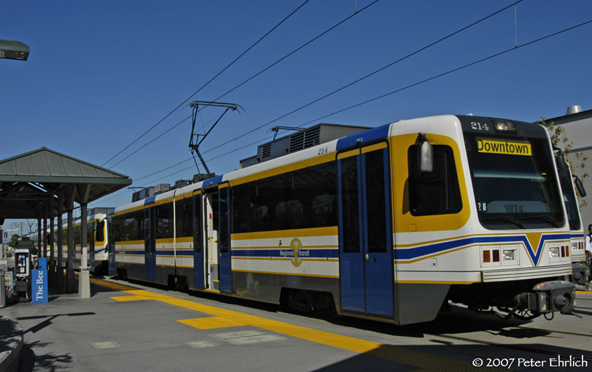 (154k, 864x544)<br><b>Country:</b> United States<br><b>City:</b> Sacramento, CA<br><b>System:</b> SACRT Light Rail<br><b>Location:</b> Sunrise <br><b>Car:</b> Sacramento CAF LRV  214 <br><b>Photo by:</b> Peter Ehrlich<br><b>Date:</b> 8/20/2007<br><b>Notes:</b> Sunrise Station inbound.<br><b>Viewed (this week/total):</b> 2 / 1078