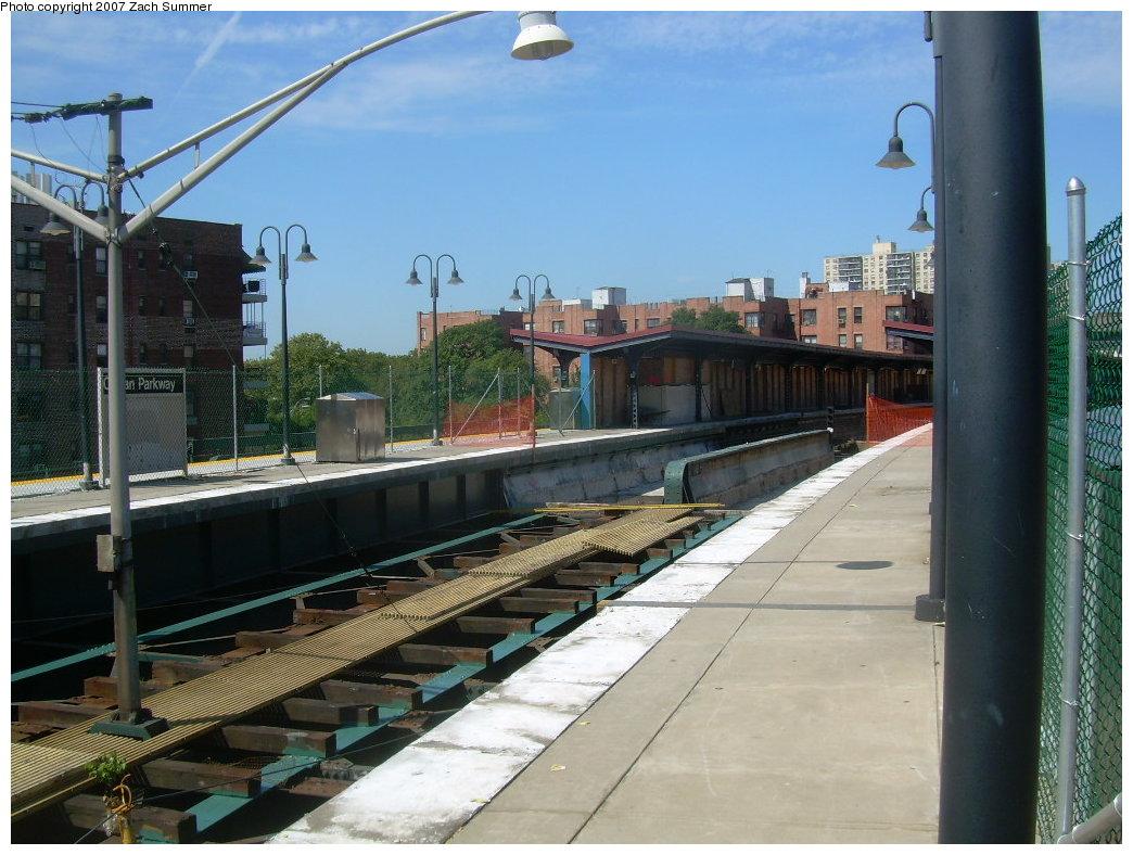 (213k, 1044x788)<br><b>Country:</b> United States<br><b>City:</b> New York<br><b>System:</b> New York City Transit<br><b>Line:</b> BMT Brighton Line<br><b>Location:</b> Ocean Parkway <br><b>Photo by:</b> Zach Summer<br><b>Date:</b> 8/12/2007<br><b>Notes:</b> Track reconstruction.<br><b>Viewed (this week/total):</b> 0 / 1143