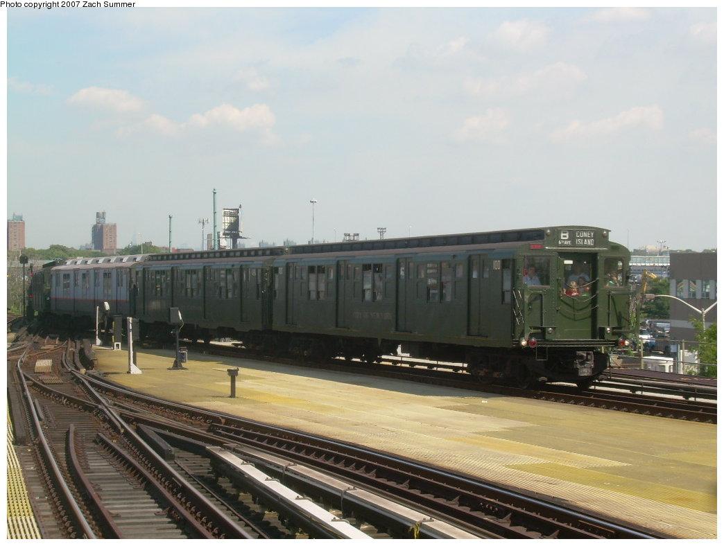 (176k, 1044x788)<br><b>Country:</b> United States<br><b>City:</b> New York<br><b>System:</b> New York City Transit<br><b>Location:</b> Coney Island/Stillwell Avenue<br><b>Route:</b> Fan Trip<br><b>Car:</b> R-1 (American Car & Foundry, 1930-1931) 100 <br><b>Photo by:</b> Zach Summer<br><b>Date:</b> 8/12/2007<br><b>Viewed (this week/total):</b> 0 / 1600