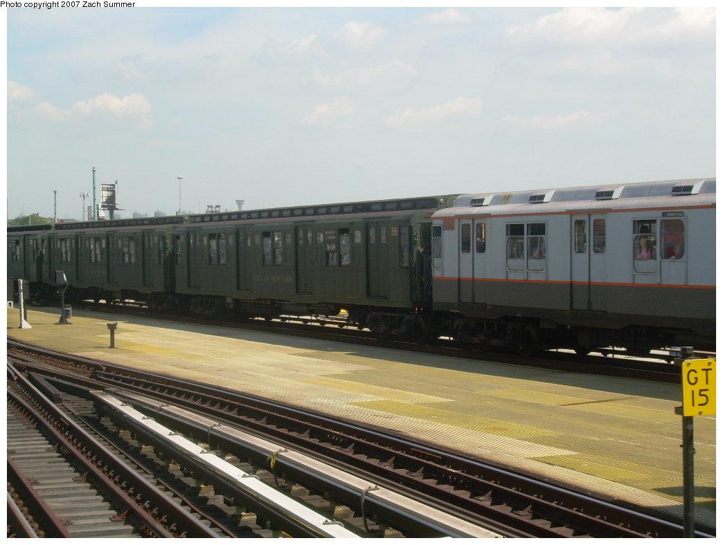 (180k, 1044x788)<br><b>Country:</b> United States<br><b>City:</b> New York<br><b>System:</b> New York City Transit<br><b>Location:</b> Coney Island/Stillwell Avenue<br><b>Route:</b> Fan Trip<br><b>Car:</b> R-1 (American Car & Foundry, 1930-1931) 381 <br><b>Photo by:</b> Zach Summer<br><b>Date:</b> 8/12/2007<br><b>Viewed (this week/total):</b> 2 / 1519