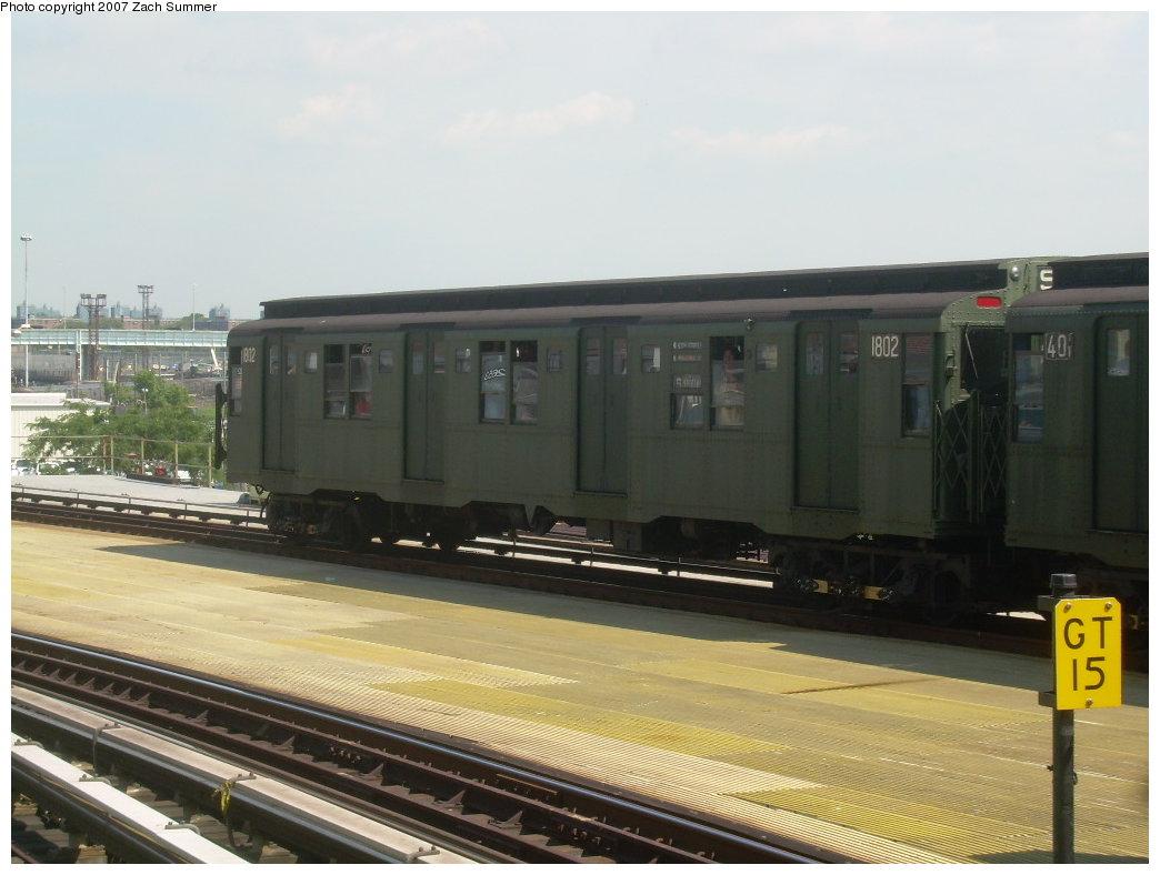(172k, 1044x788)<br><b>Country:</b> United States<br><b>City:</b> New York<br><b>System:</b> New York City Transit<br><b>Location:</b> Coney Island/Stillwell Avenue<br><b>Route:</b> Fan Trip<br><b>Car:</b> R-9 (Pressed Steel, 1940)  1802 <br><b>Photo by:</b> Zach Summer<br><b>Date:</b> 8/12/2007<br><b>Viewed (this week/total):</b> 1 / 1688