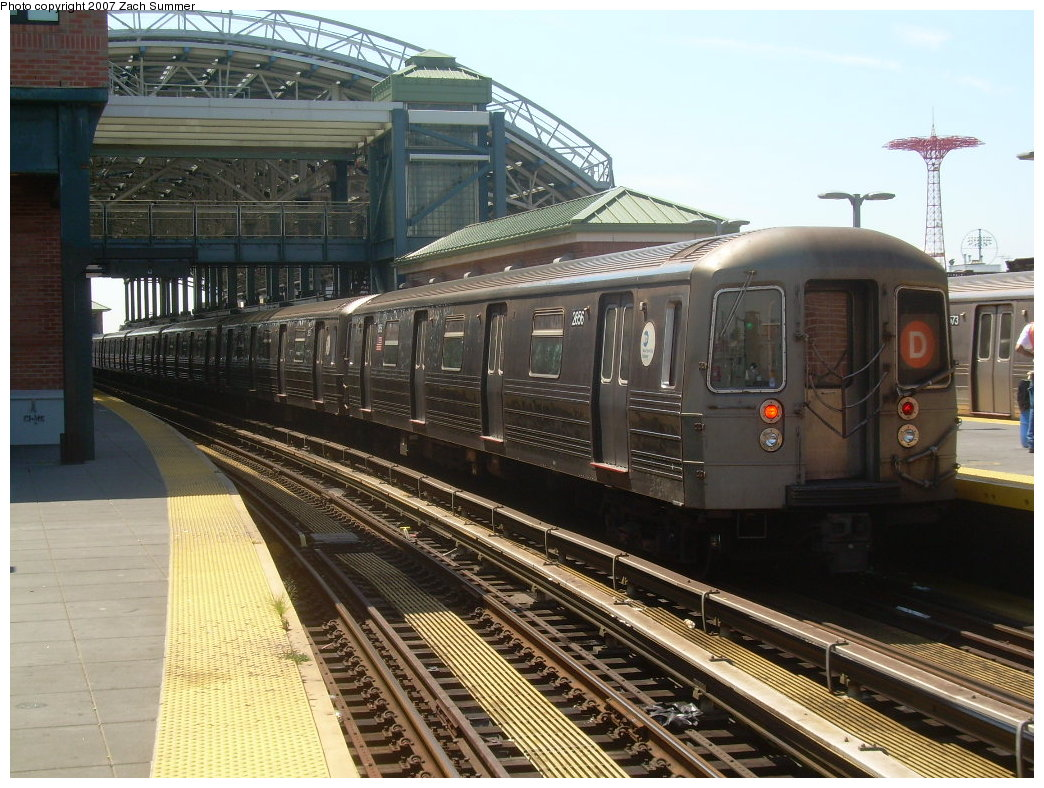 (237k, 1044x788)<br><b>Country:</b> United States<br><b>City:</b> New York<br><b>System:</b> New York City Transit<br><b>Location:</b> Coney Island/Stillwell Avenue<br><b>Route:</b> D<br><b>Car:</b> R-68 (Westinghouse-Amrail, 1986-1988)  2656 <br><b>Photo by:</b> Zach Summer<br><b>Date:</b> 8/12/2007<br><b>Viewed (this week/total):</b> 0 / 1510