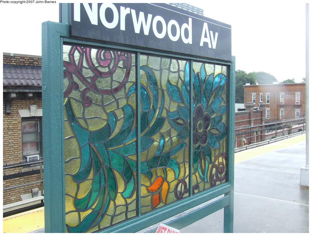 (225k, 1044x788)<br><b>Country:</b> United States<br><b>City:</b> New York<br><b>System:</b> New York City Transit<br><b>Line:</b> BMT Nassau Street/Jamaica Line<br><b>Location:</b> Norwood Avenue <br><b>Photo by:</b> John Barnes<br><b>Date:</b> 8/21/2007<br><b>Artwork:</b> <i>Culture Swirl</i>, Margaret Lanzetta (2007).<br><b>Viewed (this week/total):</b> 5 / 1514