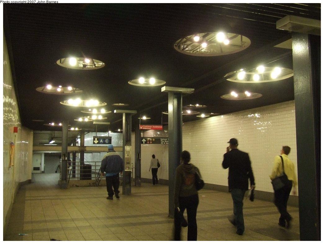 (148k, 1044x788)<br><b>Country:</b> United States<br><b>City:</b> New York<br><b>System:</b> New York City Transit<br><b>Line:</b> IND 8th Avenue Line<br><b>Location:</b> Fulton Street (Broadway/Nassau) <br><b>Photo by:</b> John Barnes<br><b>Date:</b> 8/21/2007<br><b>Artwork:</b> <i>Astral Grating</i>, Nancy Holt (1987).<br><b>Viewed (this week/total):</b> 7 / 3600