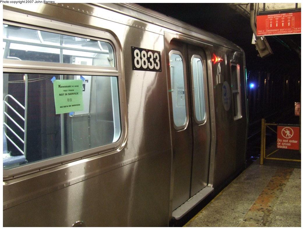 (161k, 1044x788)<br><b>Country:</b> United States<br><b>City:</b> New York<br><b>System:</b> New York City Transit<br><b>Line:</b> BMT Broadway Line<br><b>Location:</b> 49th Street <br><b>Route:</b> Testing<br><b>Car:</b> R-160B (Kawasaki, 2005-2008)  8833 <br><b>Photo by:</b> John Barnes<br><b>Date:</b> 8/21/2007<br><b>Viewed (this week/total):</b> 0 / 4002
