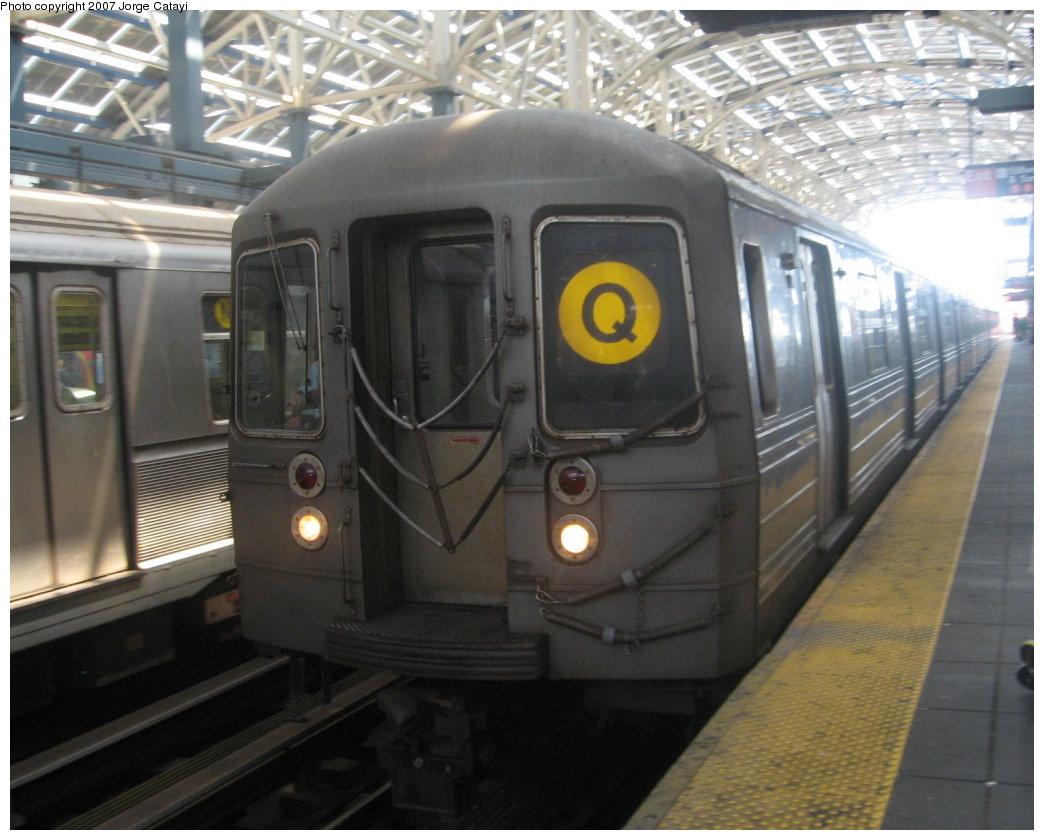 (160k, 1044x840)<br><b>Country:</b> United States<br><b>City:</b> New York<br><b>System:</b> New York City Transit<br><b>Location:</b> Coney Island/Stillwell Avenue<br><b>Route:</b> Q<br><b>Car:</b> R-68A (Kawasaki, 1988-1989)   <br><b>Photo by:</b> Jorge Catayi<br><b>Date:</b> 8/12/2007<br><b>Viewed (this week/total):</b> 1 / 1713