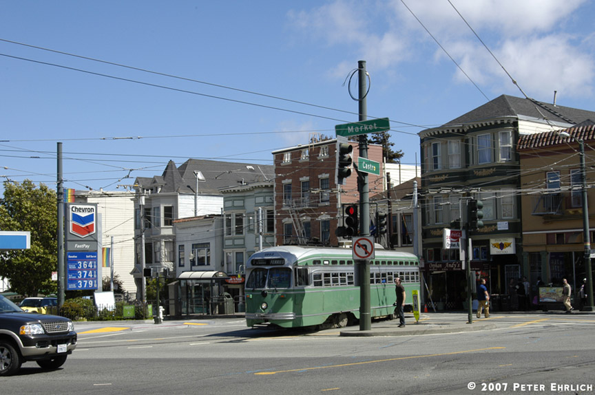 (185k, 864x574)<br><b>Country:</b> United States<br><b>City:</b> San Francisco/Bay Area, CA<br><b>System:</b> SF MUNI<br><b>Location:</b> Market/17th/Castro <br><b>Car:</b> SF MUNI PCC (Ex-SEPTA) (St. Louis Car Co., 1947-1948)  1053 <br><b>Photo by:</b> Peter Ehrlich<br><b>Date:</b> 8/7/2007<br><b>Notes:</b> Leaving 17th Street/Castro Terminal.<br><b>Viewed (this week/total):</b> 0 / 651