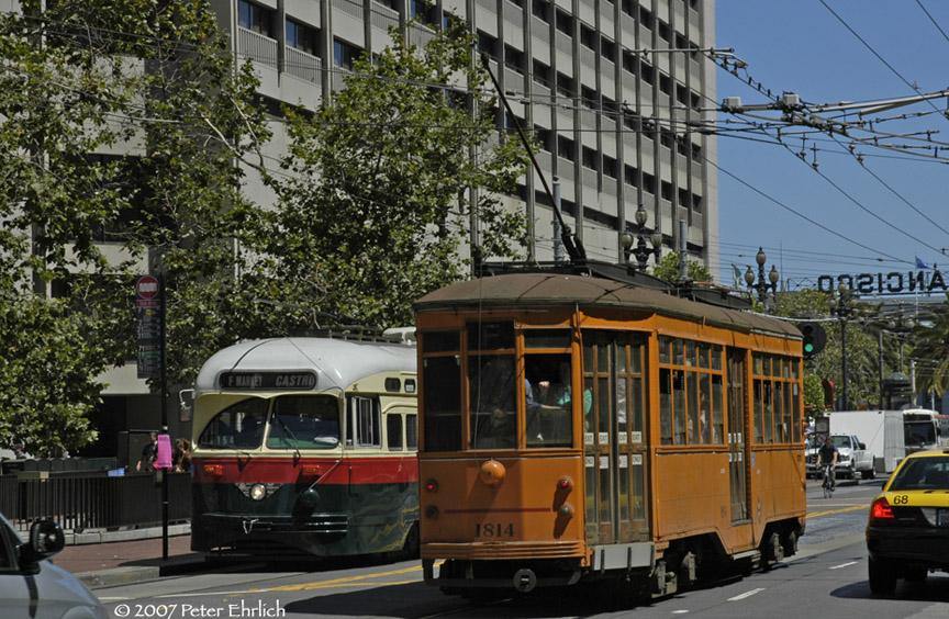 (240k, 864x564)<br><b>Country:</b> United States<br><b>City:</b> San Francisco/Bay Area, CA<br><b>System:</b> SF MUNI<br><b>Location:</b> Market/Drumm/California <br><b>Car:</b> SF MUNI PCC (Ex-NJTransit, Ex-Twin City) (St. Louis Car Co., 1946-1947)  1077 <br><b>Photo by:</b> Peter Ehrlich<br><b>Date:</b> 8/14/2007<br><b>Notes:</b> Market/Drumm outbound.<br><b>Viewed (this week/total):</b> 1 / 493