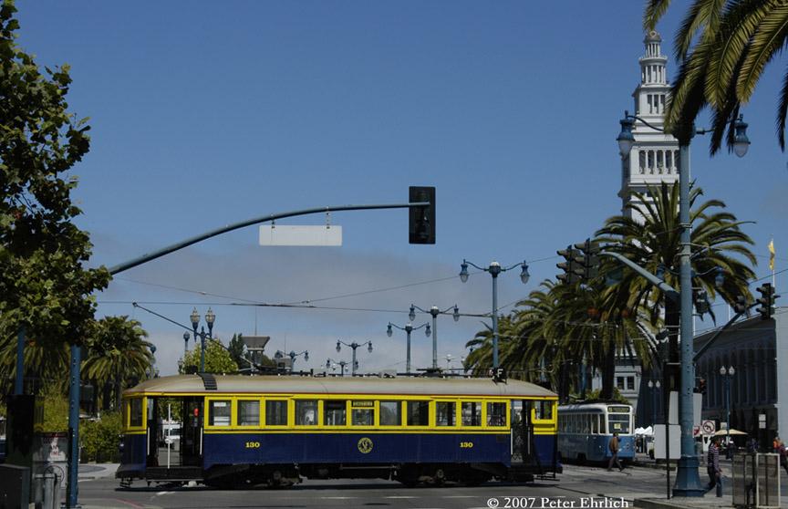 (170k, 864x558)<br><b>Country:</b> United States<br><b>City:</b> San Francisco/Bay Area, CA<br><b>System:</b> SF MUNI<br><b>Location:</b> Embarcadero/Mission <br><b>Car:</b> SF MUNI B-Type (Jewett Car Co, 1914)  130 <br><b>Photo by:</b> Peter Ehrlich<br><b>Date:</b> 8/14/2007<br><b>Notes:</b> Mission/Embarcadero.  Brussels/Zurich 737 is on the right.<br><b>Viewed (this week/total):</b> 0 / 597