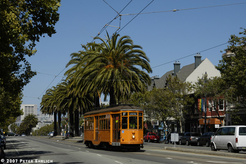 (221k, 864x574)<br><b>Country:</b> United States<br><b>City:</b> San Francisco/Bay Area, CA<br><b>System:</b> SF MUNI<br><b>Location:</b> Market/16th/Noe<br><b>Car:</b> Milan Milano/Peter Witt (1927-1930) 1895 <br><b>Photo by:</b> Peter Ehrlich<br><b>Date:</b> 8/7/2007<br><b>Notes:</b> Approaching Market/Noe/16th Street outbound.<br><b>Viewed (this week/total):</b> 0 / 595