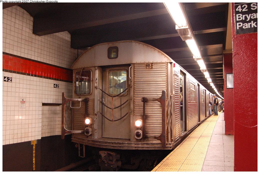 (209k, 1044x701)<br><b>Country:</b> United States<br><b>City:</b> New York<br><b>System:</b> New York City Transit<br><b>Line:</b> IND 6th Avenue Line<br><b>Location:</b> 42nd Street/Bryant Park <br><b>Route:</b> F<br><b>Car:</b> R-32 (Budd, 1964)  3565 <br><b>Photo by:</b> Christopher Esposito<br><b>Date:</b> 8/22/2007<br><b>Viewed (this week/total):</b> 0 / 2365