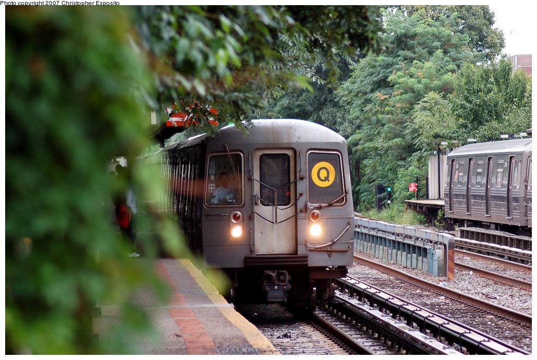 (238k, 1044x701)<br><b>Country:</b> United States<br><b>City:</b> New York<br><b>System:</b> New York City Transit<br><b>Line:</b> BMT Brighton Line<br><b>Location:</b> Avenue H <br><b>Route:</b> Q<br><b>Car:</b> R-68A (Kawasaki, 1988-1989)   <br><b>Photo by:</b> Christopher Esposito<br><b>Date:</b> 8/22/2007<br><b>Viewed (this week/total):</b> 0 / 1725