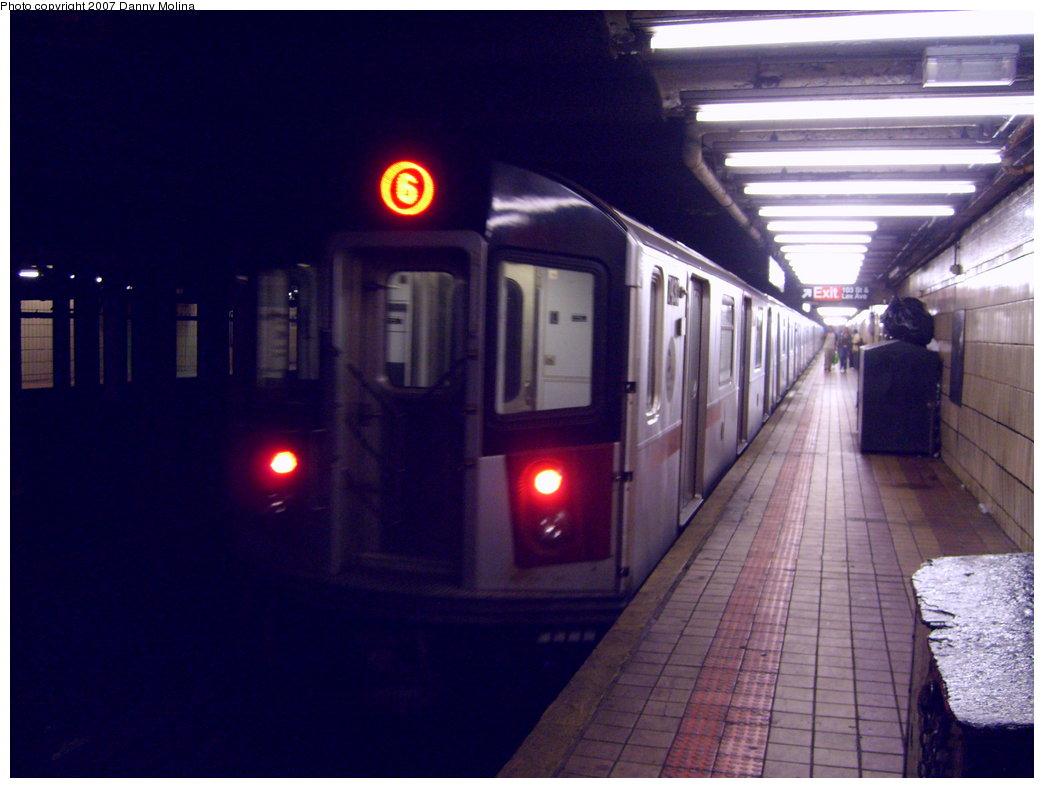 (174k, 1044x788)<br><b>Country:</b> United States<br><b>City:</b> New York<br><b>System:</b> New York City Transit<br><b>Line:</b> IRT East Side Line<br><b>Location:</b> 103rd Street <br><b>Route:</b> 6<br><b>Car:</b> R-142 or R-142A (Number Unknown)  <br><b>Photo by:</b> Danny Molina<br><b>Date:</b> 4/25/2007<br><b>Viewed (this week/total):</b> 3 / 3152