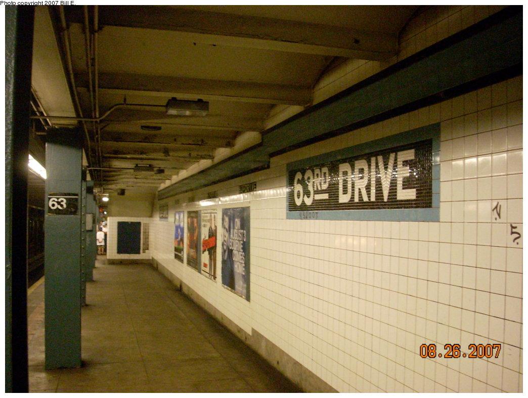 (198k, 1044x788)<br><b>Country:</b> United States<br><b>City:</b> New York<br><b>System:</b> New York City Transit<br><b>Line:</b> IND Queens Boulevard Line<br><b>Location:</b> 63rd Drive/Rego Park <br><b>Photo by:</b> Bill E.<br><b>Date:</b> 8/26/2007<br><b>Viewed (this week/total):</b> 2 / 1691