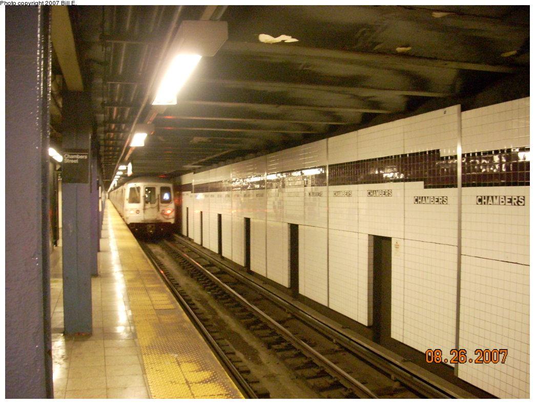 (208k, 1044x788)<br><b>Country:</b> United States<br><b>City:</b> New York<br><b>System:</b> New York City Transit<br><b>Line:</b> IND 8th Avenue Line<br><b>Location:</b> Chambers Street/World Trade Center <br><b>Route:</b> A<br><b>Car:</b> R-44 (St. Louis, 1971-73)  <br><b>Photo by:</b> Bill E.<br><b>Date:</b> 8/26/2007<br><b>Viewed (this week/total):</b> 0 / 2455