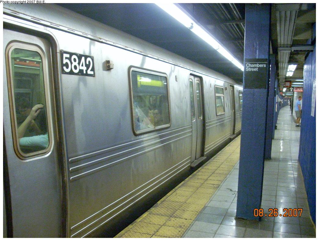 (216k, 1044x788)<br><b>Country:</b> United States<br><b>City:</b> New York<br><b>System:</b> New York City Transit<br><b>Line:</b> IND 8th Avenue Line<br><b>Location:</b> Chambers Street/World Trade Center <br><b>Route:</b> F<br><b>Car:</b> R-46 (Pullman-Standard, 1974-75) 5842 <br><b>Photo by:</b> Bill E.<br><b>Date:</b> 8/26/2007<br><b>Notes:</b> F re-route on A line.<br><b>Viewed (this week/total):</b> 0 / 2293
