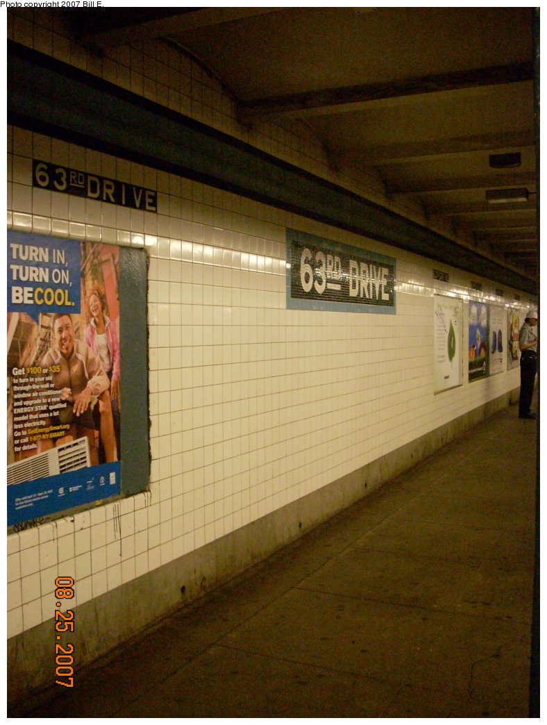 (206k, 788x1044)<br><b>Country:</b> United States<br><b>City:</b> New York<br><b>System:</b> New York City Transit<br><b>Line:</b> IND Queens Boulevard Line<br><b>Location:</b> 63rd Drive/Rego Park <br><b>Photo by:</b> Bill E.<br><b>Date:</b> 8/25/2007<br><b>Viewed (this week/total):</b> 1 / 1486