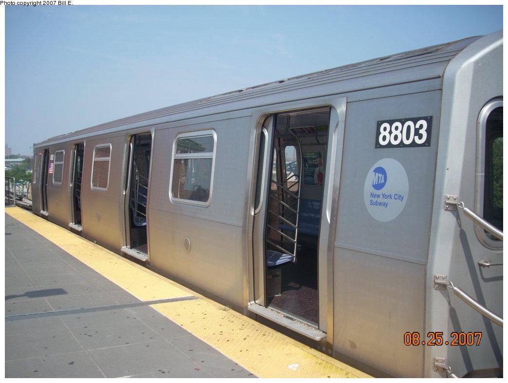 (156k, 1044x788)<br><b>Country:</b> United States<br><b>City:</b> New York<br><b>System:</b> New York City Transit<br><b>Location:</b> Coney Island/Stillwell Avenue<br><b>Route:</b> N<br><b>Car:</b> R-160B (Kawasaki, 2005-2008)  8803 <br><b>Photo by:</b> Bill E.<br><b>Date:</b> 8/25/2007<br><b>Viewed (this week/total):</b> 1 / 1859