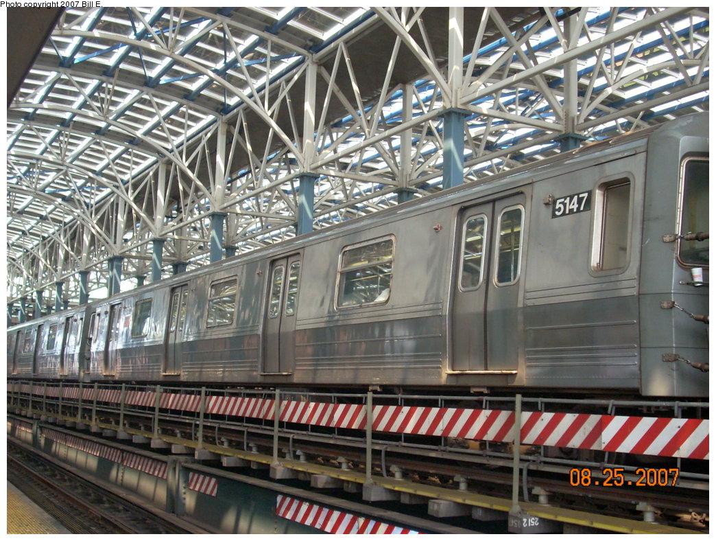 (273k, 1044x788)<br><b>Country:</b> United States<br><b>City:</b> New York<br><b>System:</b> New York City Transit<br><b>Location:</b> Coney Island/Stillwell Avenue<br><b>Route:</b> Q<br><b>Car:</b> R-68A (Kawasaki, 1988-1989)  5147 <br><b>Photo by:</b> Bill E.<br><b>Date:</b> 8/25/2007<br><b>Viewed (this week/total):</b> 0 / 2019