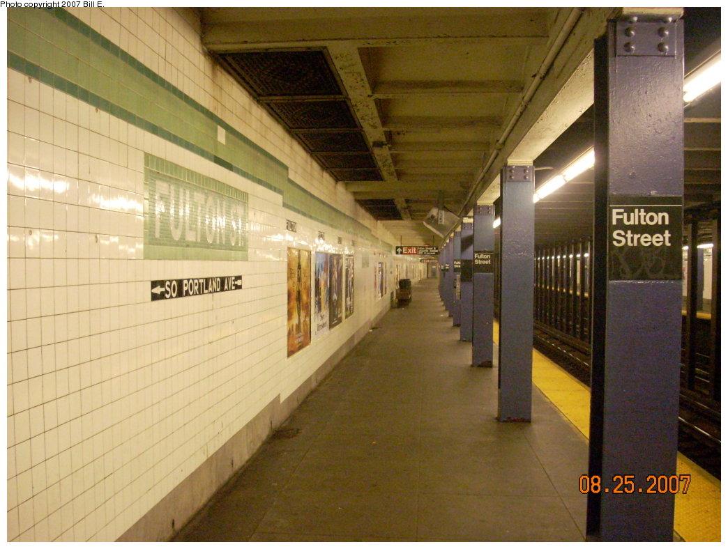 (203k, 1044x788)<br><b>Country:</b> United States<br><b>City:</b> New York<br><b>System:</b> New York City Transit<br><b>Line:</b> IND Crosstown Line<br><b>Location:</b> Fulton Street <br><b>Photo by:</b> Bill E.<br><b>Date:</b> 8/25/2007<br><b>Viewed (this week/total):</b> 0 / 2312