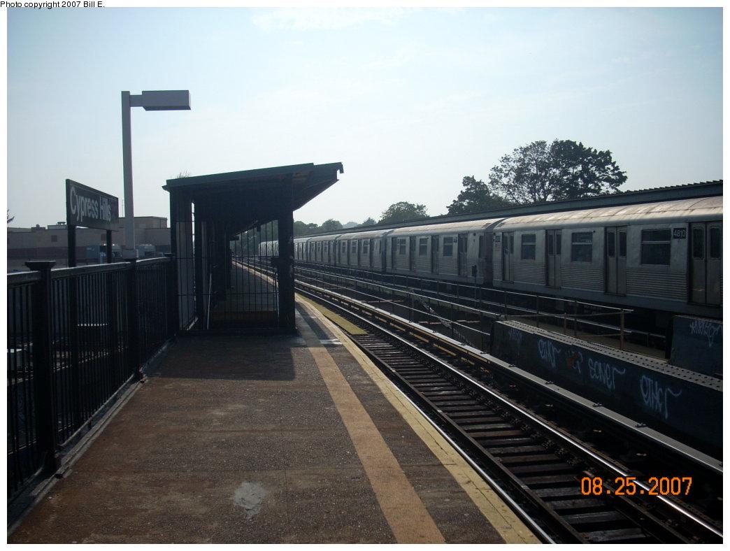 (169k, 1044x788)<br><b>Country:</b> United States<br><b>City:</b> New York<br><b>System:</b> New York City Transit<br><b>Line:</b> BMT Nassau Street/Jamaica Line<br><b>Location:</b> Cypress Hills <br><b>Route:</b> J<br><b>Car:</b> R-42 (St. Louis, 1969-1970)  4810 <br><b>Photo by:</b> Bill E.<br><b>Date:</b> 8/25/2007<br><b>Viewed (this week/total):</b> 2 / 1535