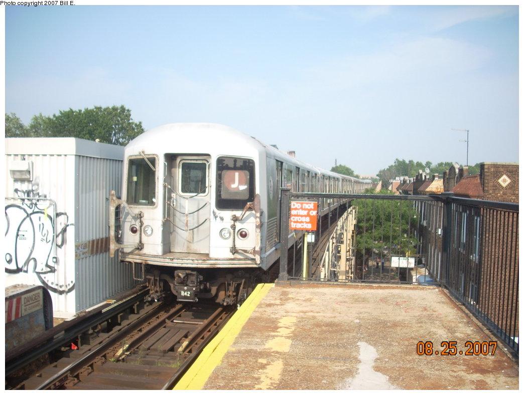 (191k, 1044x788)<br><b>Country:</b> United States<br><b>City:</b> New York<br><b>System:</b> New York City Transit<br><b>Line:</b> BMT Nassau Street/Jamaica Line<br><b>Location:</b> Woodhaven Boulevard <br><b>Route:</b> J<br><b>Car:</b> R-42 (St. Louis, 1969-1970)   <br><b>Photo by:</b> Bill E.<br><b>Date:</b> 8/25/2007<br><b>Viewed (this week/total):</b> 1 / 2449