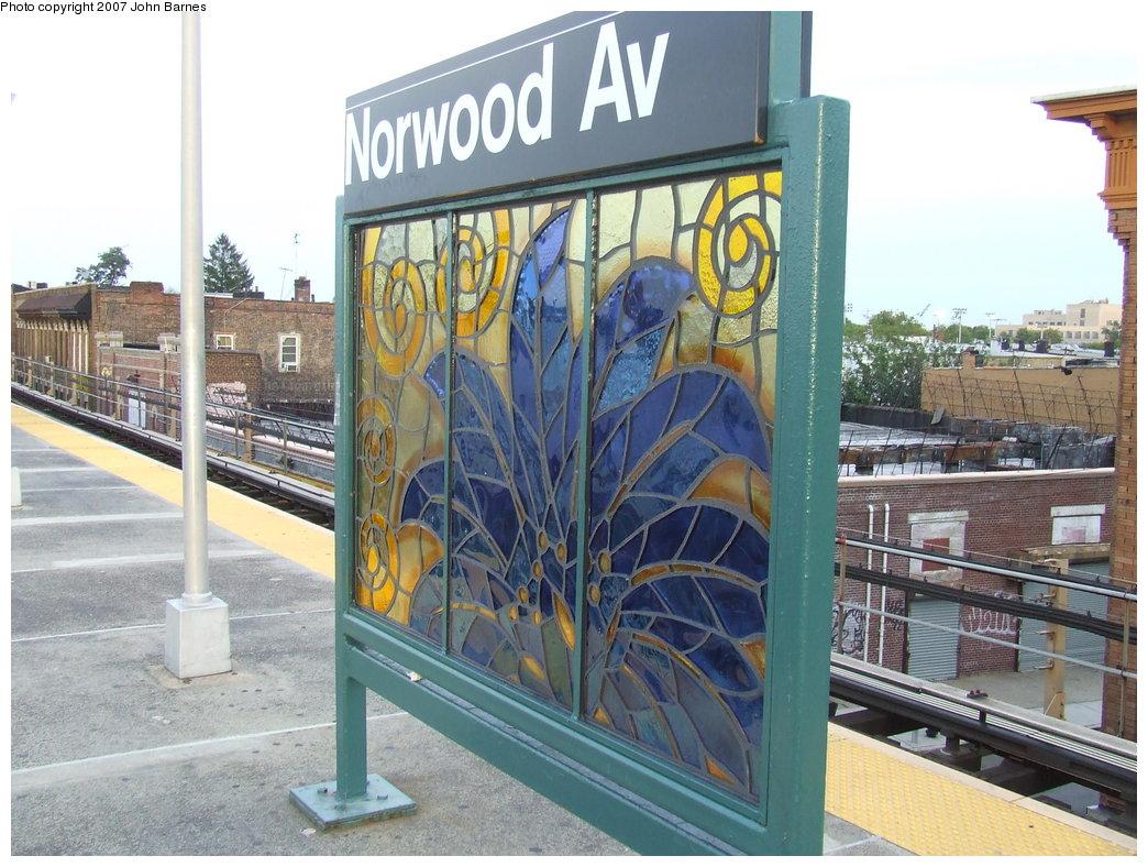 (207k, 1044x788)<br><b>Country:</b> United States<br><b>City:</b> New York<br><b>System:</b> New York City Transit<br><b>Line:</b> BMT Nassau Street/Jamaica Line<br><b>Location:</b> Norwood Avenue <br><b>Photo by:</b> John Barnes<br><b>Date:</b> 8/26/2007<br><b>Artwork:</b> <i>Culture Swirl</i>, Margaret Lanzetta (2007).<br><b>Viewed (this week/total):</b> 2 / 1365