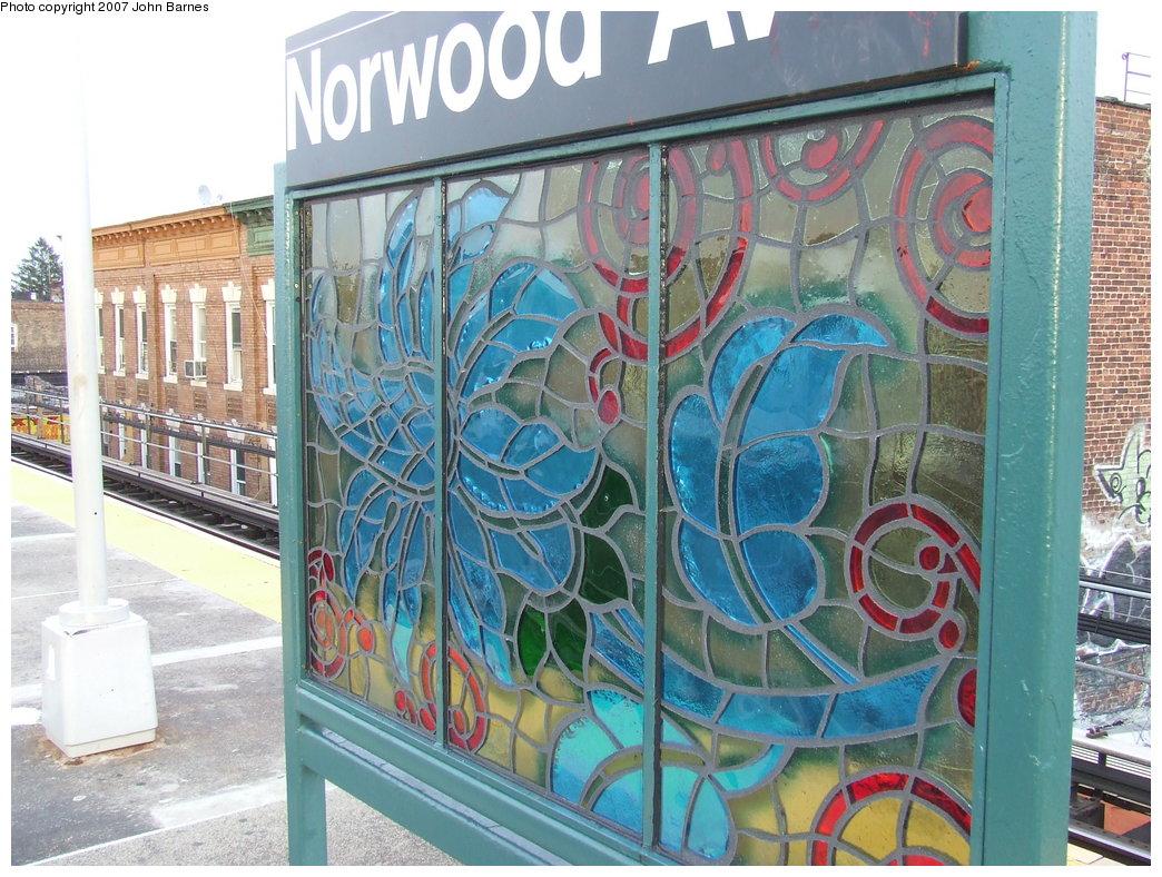 (228k, 1044x788)<br><b>Country:</b> United States<br><b>City:</b> New York<br><b>System:</b> New York City Transit<br><b>Line:</b> BMT Nassau Street-Jamaica Line<br><b>Location:</b> Norwood Avenue<br><b>Photo by:</b> John Barnes<br><b>Date:</b> 8/26/2007<br><b>Artwork:</b> <i>Culture Swirl</i>, Margaret Lanzetta, 2007<br><b>Viewed (this week/total):</b> 0 / 1896