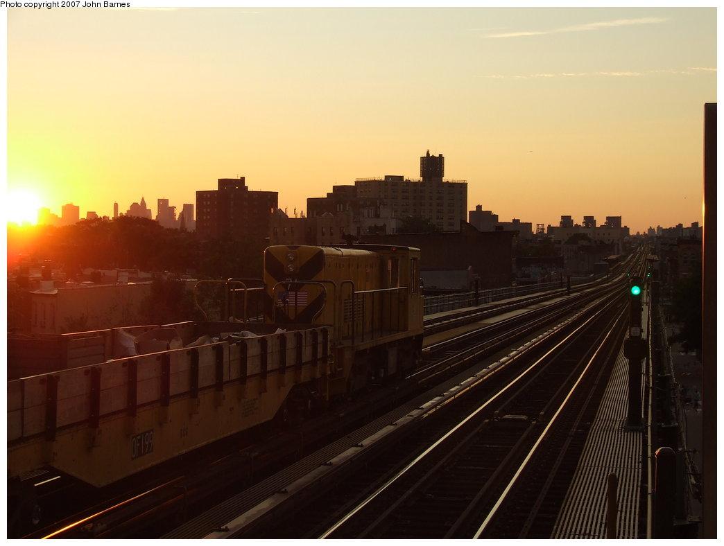 (116k, 1044x788)<br><b>Country:</b> United States<br><b>City:</b> New York<br><b>System:</b> New York City Transit<br><b>Line:</b> BMT Nassau Street/Jamaica Line<br><b>Location:</b> Chauncey Street <br><b>Route:</b> Work Service<br><b>Car:</b> R-52 Locomotive  71 <br><b>Photo by:</b> John Barnes<br><b>Date:</b> 8/26/2007<br><b>Viewed (this week/total):</b> 3 / 2160