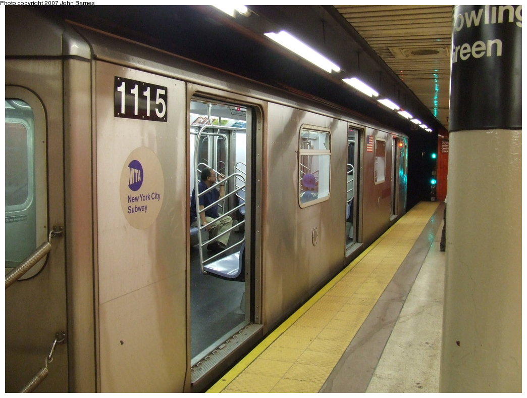 (157k, 1044x788)<br><b>Country:</b> United States<br><b>City:</b> New York<br><b>System:</b> New York City Transit<br><b>Line:</b> IRT East Side Line<br><b>Location:</b> Bowling Green <br><b>Route:</b> 4<br><b>Car:</b> R-142 (Option Order, Bombardier, 2002-2003)  1115 <br><b>Photo by:</b> John Barnes<br><b>Date:</b> 8/26/2007<br><b>Viewed (this week/total):</b> 3 / 2908
