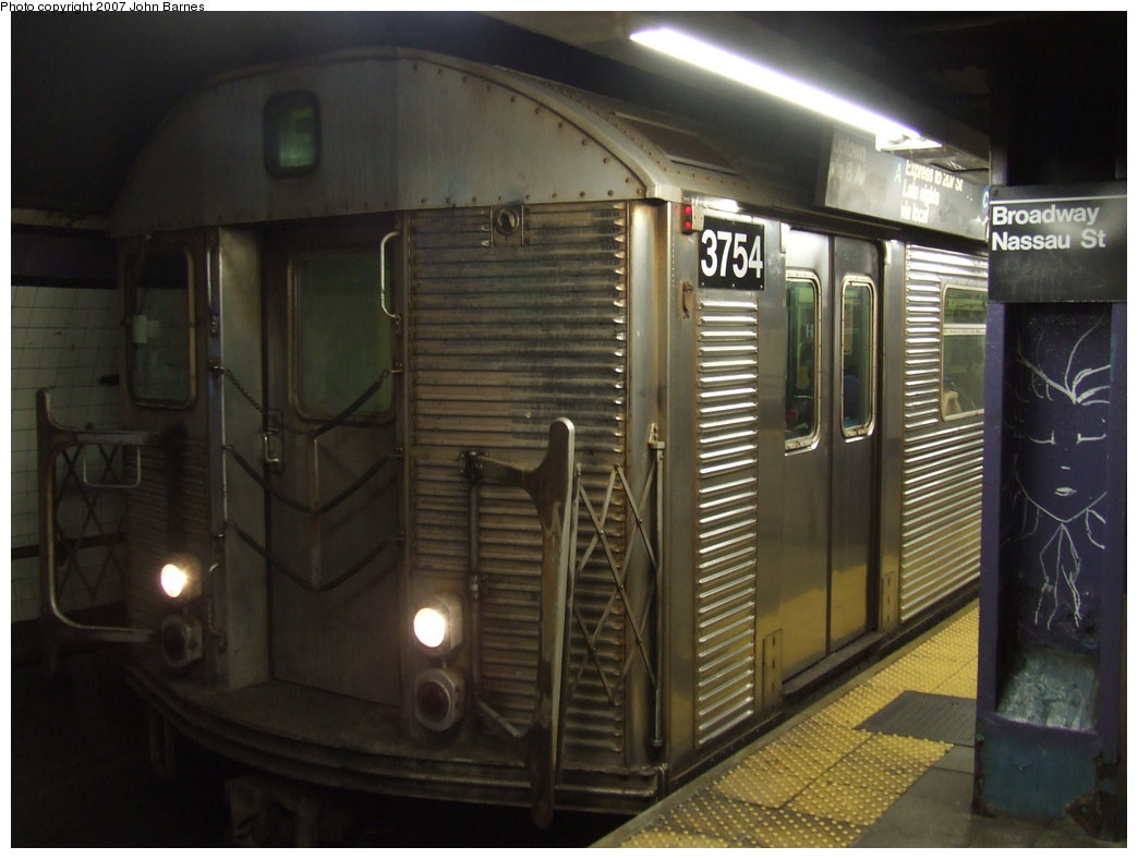 (145k, 1044x788)<br><b>Country:</b> United States<br><b>City:</b> New York<br><b>System:</b> New York City Transit<br><b>Line:</b> IND 8th Avenue Line<br><b>Location:</b> Fulton Street (Broadway/Nassau) <br><b>Route:</b> F<br><b>Car:</b> R-32 (Budd, 1964)  3754 <br><b>Photo by:</b> John Barnes<br><b>Date:</b> 8/26/2007<br><b>Notes:</b> F train re-routed on the A Line for a weekend G.O.<br><b>Viewed (this week/total):</b> 0 / 2861