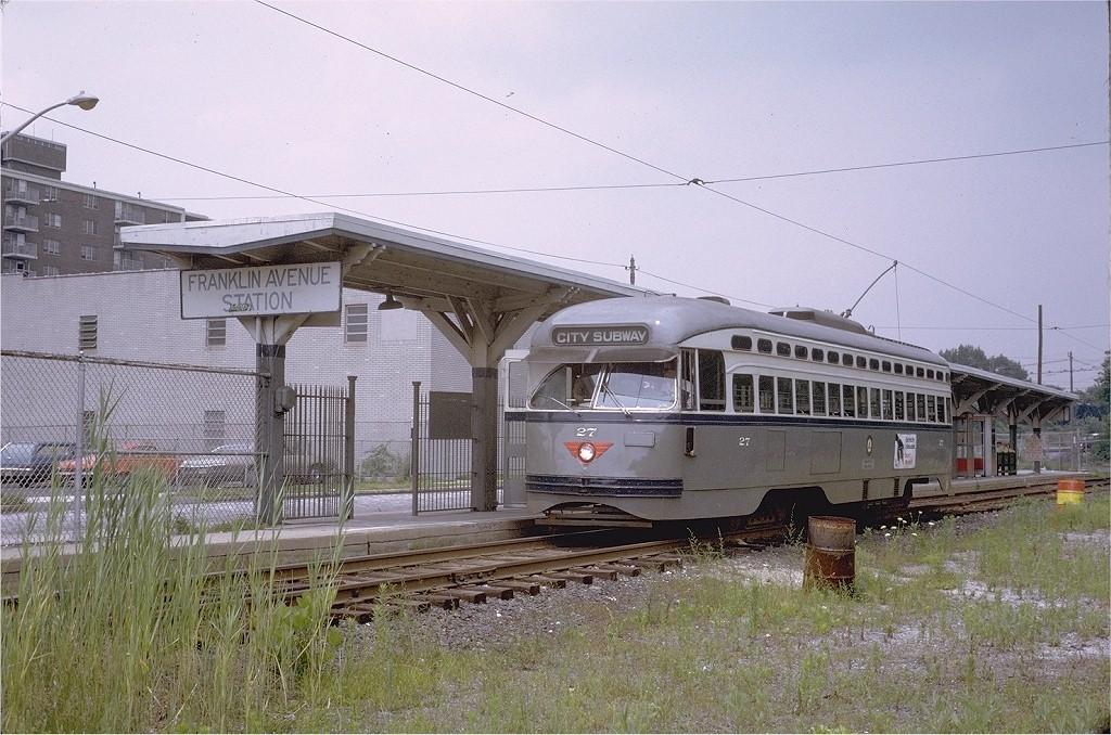 (231k, 1024x678)<br><b>Country:</b> United States<br><b>City:</b> Newark, NJ<br><b>System:</b> Newark City Subway<br><b>Location:</b> Franklin Avenue <br><b>Car:</b> NJTransit/PSCT PCC (Ex-Twin City) (St. Louis Car Co., 1946-1947) 27 <br><b>Photo by:</b> Steve Zabel<br><b>Collection of:</b> Joe Testagrose<br><b>Date:</b> 7/8/1972<br><b>Viewed (this week/total):</b> 0 / 1170