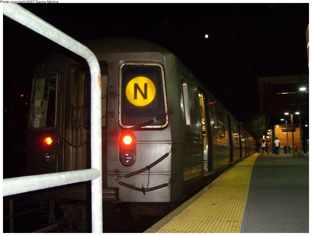 (186k, 1044x788)<br><b>Country:</b> United States<br><b>City:</b> New York<br><b>System:</b> New York City Transit<br><b>Location:</b> Coney Island/Stillwell Avenue<br><b>Route:</b> N<br><b>Car:</b> R-68 (Westinghouse-Amrail, 1986-1988)   <br><b>Photo by:</b> Danny Molina<br><b>Date:</b> 8/24/2007<br><b>Viewed (this week/total):</b> 1 / 1966