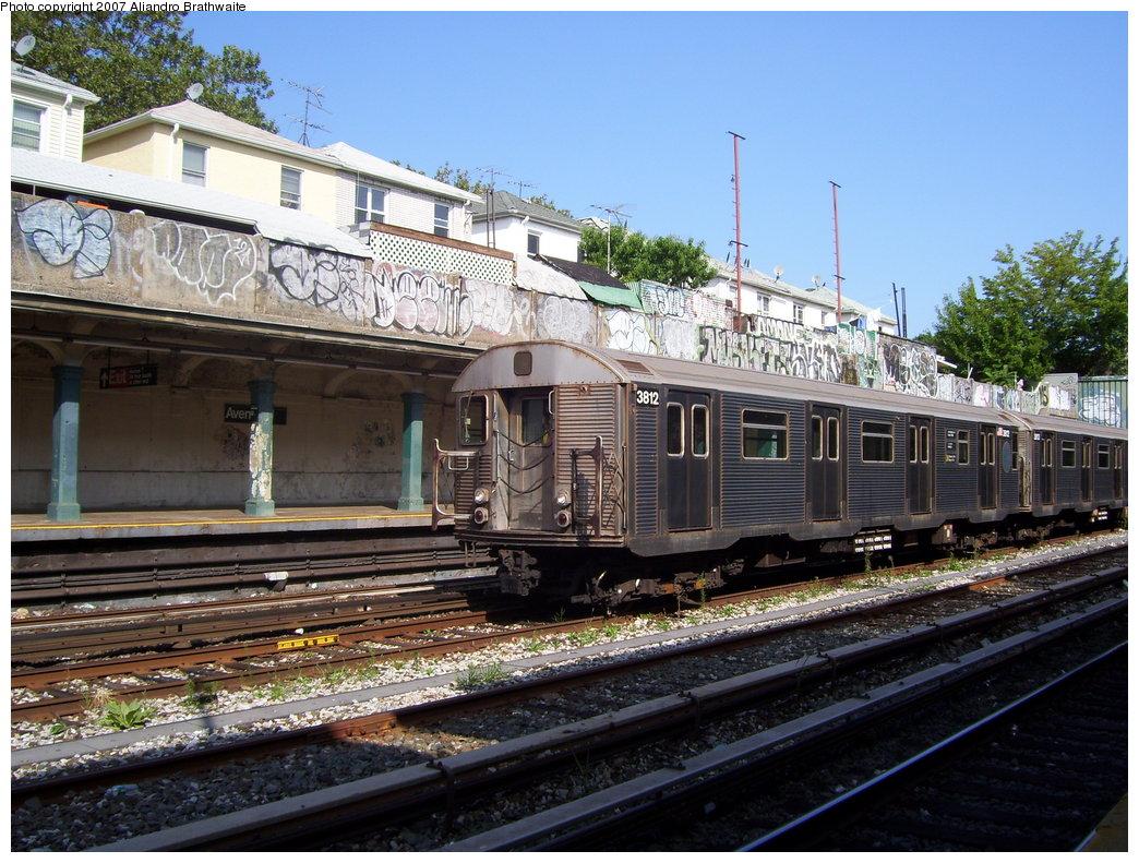 (235k, 1044x791)<br><b>Country:</b> United States<br><b>City:</b> New York<br><b>System:</b> New York City Transit<br><b>Line:</b> BMT Sea Beach Line<br><b>Location:</b> Avenue U <br><b>Route:</b> F<br><b>Car:</b> R-32 (Budd, 1964)  3812 <br><b>Photo by:</b> Aliandro Brathwaite<br><b>Date:</b> 8/27/2007<br><b>Notes:</b> F reroute over Sea Beach line.<br><b>Viewed (this week/total):</b> 0 / 2477