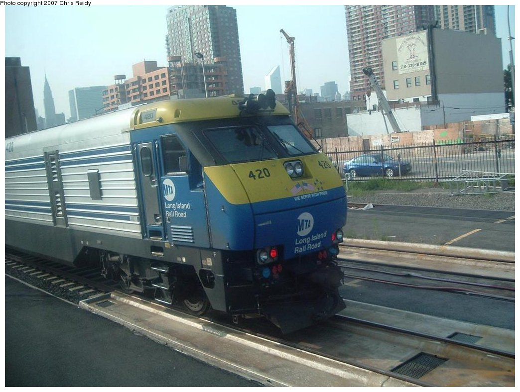 (167k, 1044x788)<br><b>Country:</b> United States<br><b>City:</b> New York<br><b>System:</b> Long Island Rail Road<br><b>Line:</b> LIRR Long Island City<br><b>Location:</b> Long Island City <br><b>Car:</b> LIRR GM DE30AC (Diesel)  420 <br><b>Photo by:</b> Chris Reidy<br><b>Date:</b> 8/24/2007<br><b>Viewed (this week/total):</b> 0 / 1847