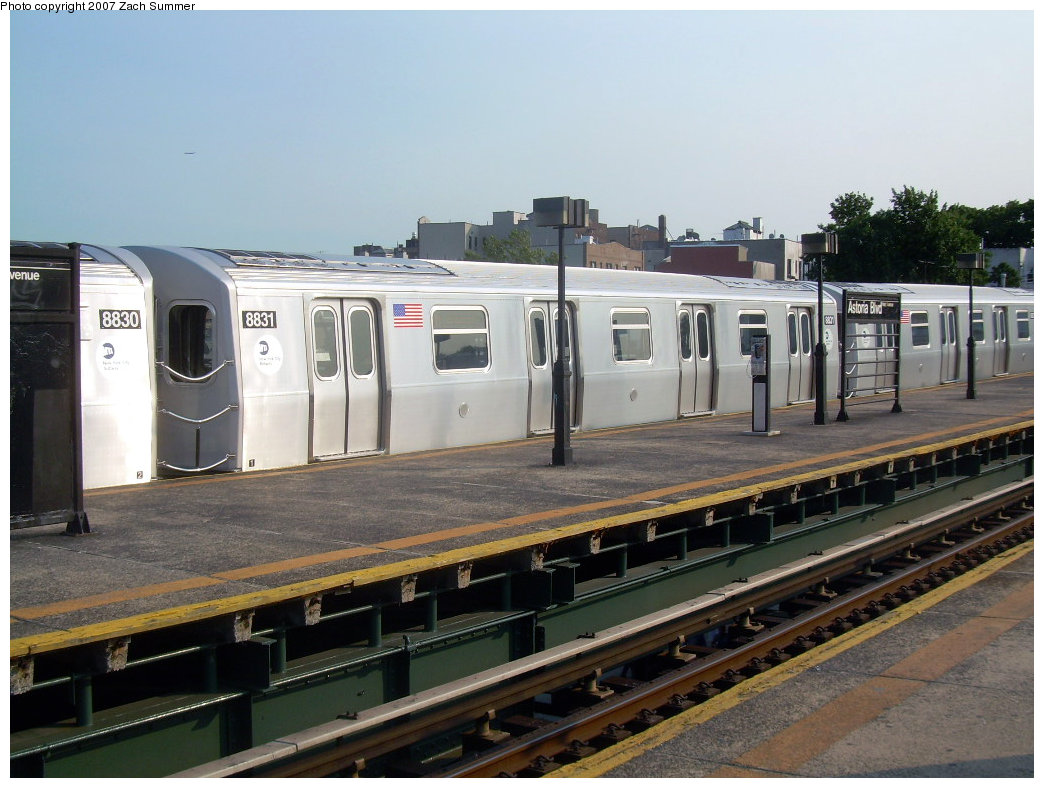 (203k, 1044x788)<br><b>Country:</b> United States<br><b>City:</b> New York<br><b>System:</b> New York City Transit<br><b>Line:</b> BMT Astoria Line<br><b>Location:</b> Astoria Boulevard/Hoyt Avenue <br><b>Route:</b> N<br><b>Car:</b> R-160B (Kawasaki, 2005-2008)  8831 <br><b>Photo by:</b> Zach Summer<br><b>Date:</b> 8/14/2007<br><b>Viewed (this week/total):</b> 0 / 3138