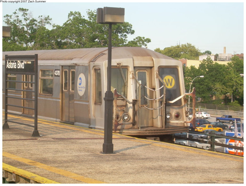 (243k, 1044x788)<br><b>Country:</b> United States<br><b>City:</b> New York<br><b>System:</b> New York City Transit<br><b>Line:</b> BMT Astoria Line<br><b>Location:</b> Astoria Boulevard/Hoyt Avenue <br><b>Route:</b> W<br><b>Car:</b> R-40 (St. Louis, 1968)  4378 <br><b>Photo by:</b> Zach Summer<br><b>Date:</b> 8/14/2007<br><b>Viewed (this week/total):</b> 0 / 2029