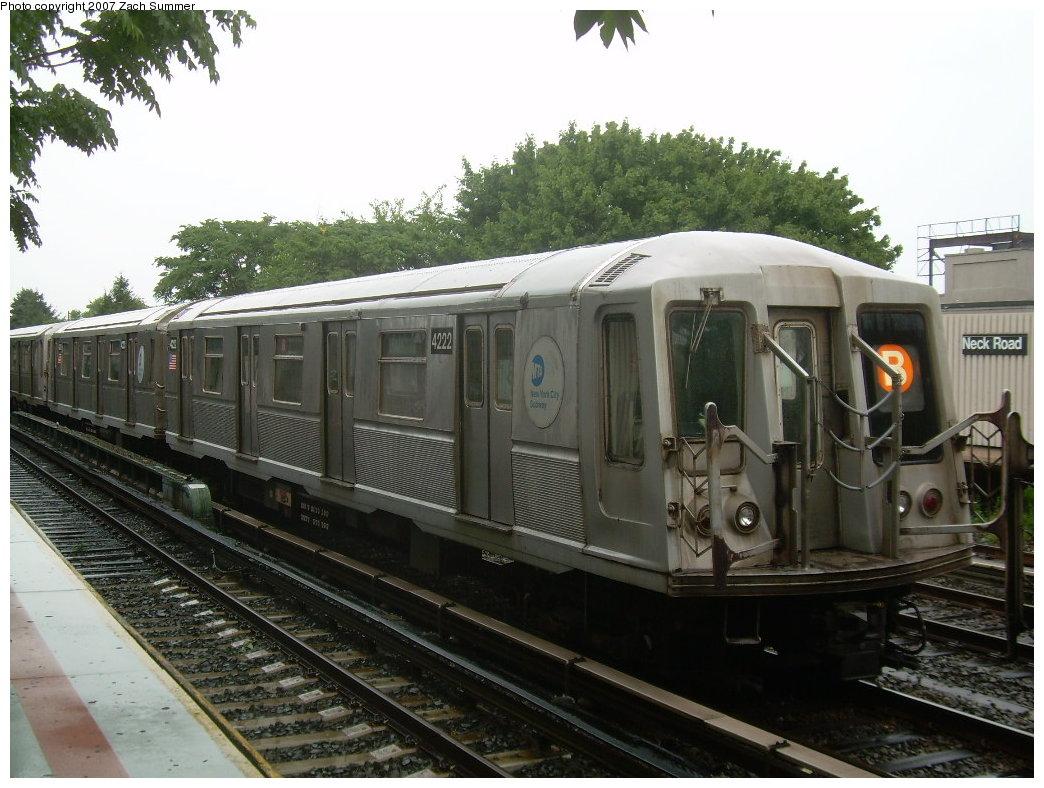 (210k, 1044x788)<br><b>Country:</b> United States<br><b>City:</b> New York<br><b>System:</b> New York City Transit<br><b>Line:</b> BMT Brighton Line<br><b>Location:</b> Neck Road <br><b>Car:</b> R-40 (St. Louis, 1968)  4222 <br><b>Photo by:</b> Zach Summer<br><b>Date:</b> 8/19/2007<br><b>Notes:</b> Layup.<br><b>Viewed (this week/total):</b> 0 / 1638