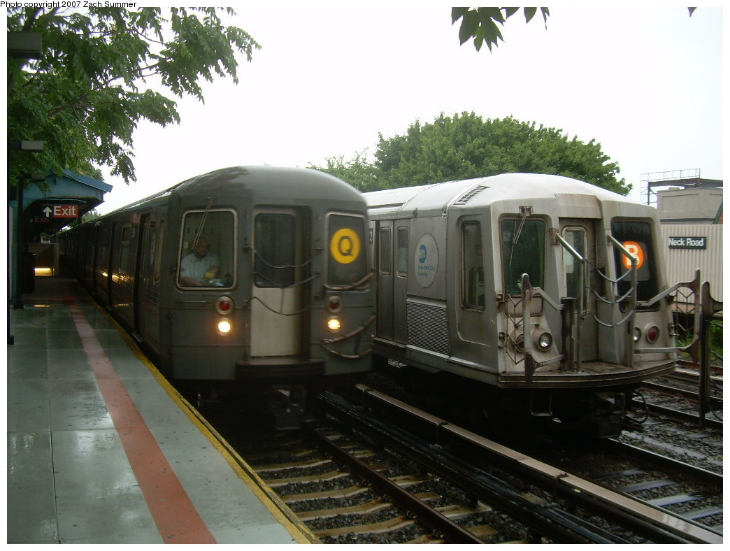 (195k, 1044x788)<br><b>Country:</b> United States<br><b>City:</b> New York<br><b>System:</b> New York City Transit<br><b>Line:</b> BMT Brighton Line<br><b>Location:</b> Neck Road <br><b>Car:</b> R-40 (St. Louis, 1968)  4222 <br><b>Photo by:</b> Zach Summer<br><b>Date:</b> 8/19/2007<br><b>Notes:</b> Layup. With R68A on Q.<br><b>Viewed (this week/total):</b> 2 / 1924