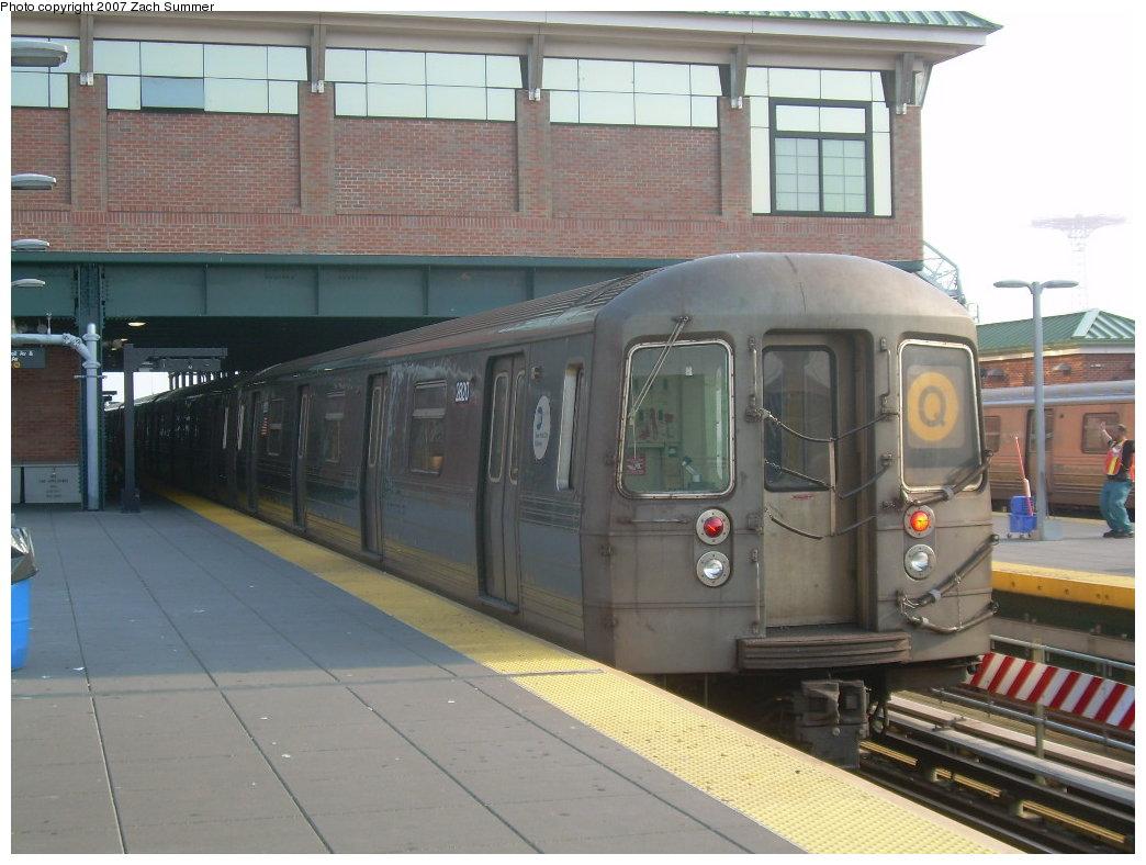 (191k, 1044x788)<br><b>Country:</b> United States<br><b>City:</b> New York<br><b>System:</b> New York City Transit<br><b>Location:</b> Coney Island/Stillwell Avenue<br><b>Route:</b> Q<br><b>Car:</b> R-68 (Westinghouse-Amrail, 1986-1988)  2820 <br><b>Photo by:</b> Zach Summer<br><b>Date:</b> 8/25/2007<br><b>Viewed (this week/total):</b> 4 / 1542
