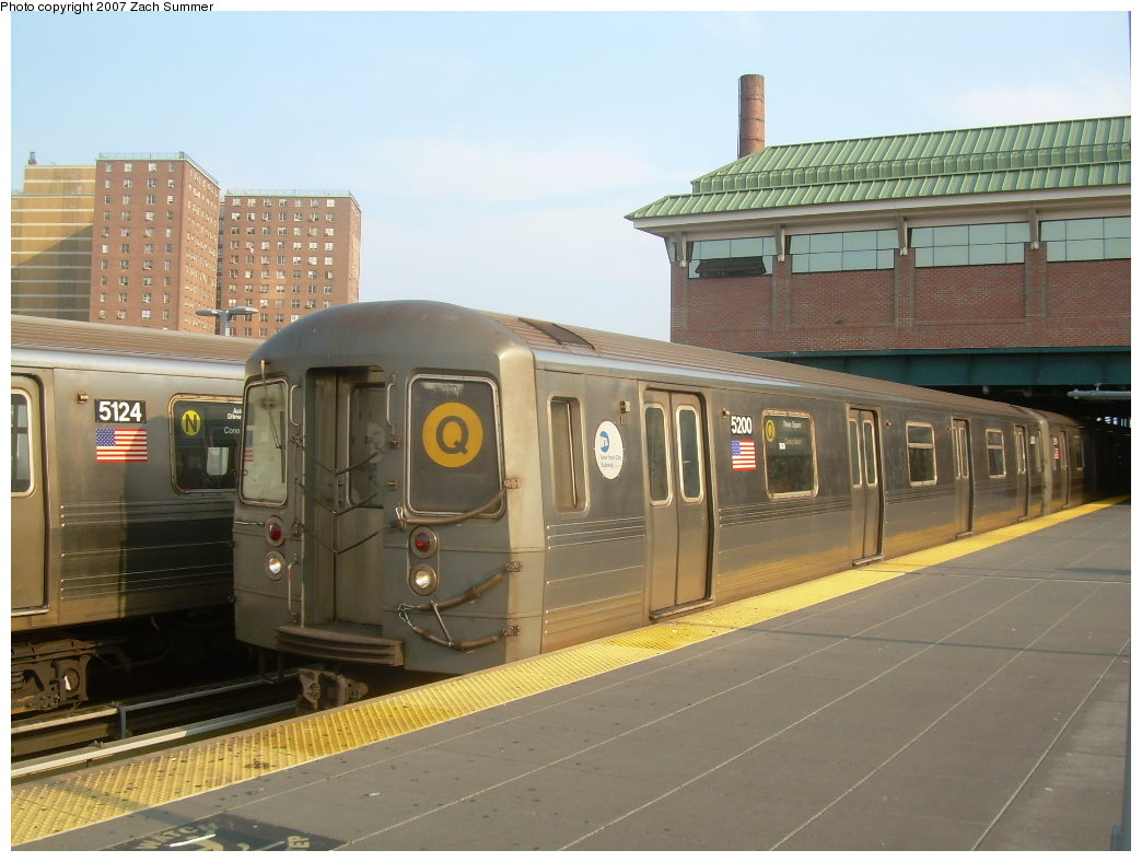 (188k, 1044x788)<br><b>Country:</b> United States<br><b>City:</b> New York<br><b>System:</b> New York City Transit<br><b>Location:</b> Coney Island/Stillwell Avenue<br><b>Route:</b> Q<br><b>Car:</b> R-68A (Kawasaki, 1988-1989)  5200 <br><b>Photo by:</b> Zach Summer<br><b>Date:</b> 8/25/2007<br><b>Viewed (this week/total):</b> 0 / 2471